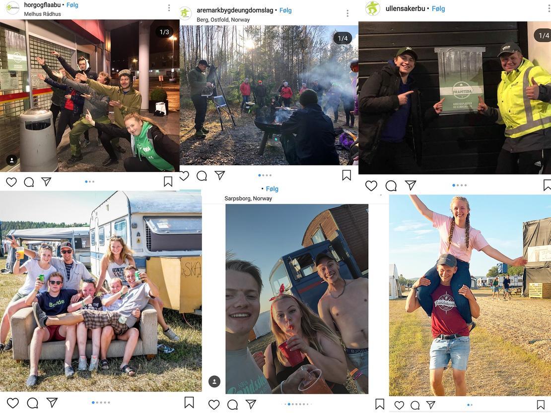 Aktivitet på bygda er viktig! Illustrasjonsbilder fra Instagram #bygdeungdom