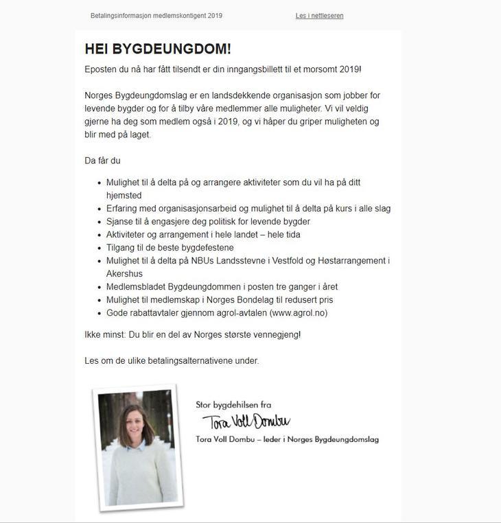 E-post medlemskontingent