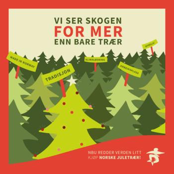 """Vi har mange trær i Norge, men det er ikke alle juletrær som er produsert her. Sjekk om ditt juletre er """"made in Norway"""". Illustrasjon: Nina Karlsen Bellika"""
